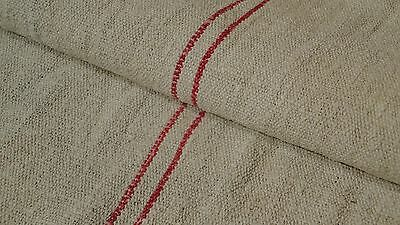 Antique European Feed Sack GRAIN SACK Red Stripe # 7957