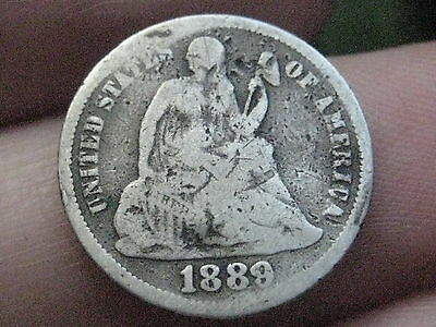 1889 S Seated Liberty Dime- VG Details- Rare Semi-Key Date