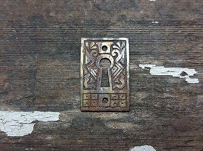 VTG Antique Fancy Old Metal EASTLAKE Keyhole Cover Backplate Door Desk Clock .
