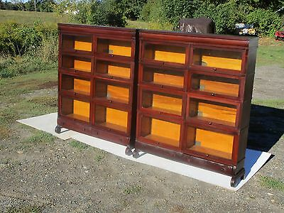 Matching Antique C-1910 Globe Wernicke Mahogany Double Wide Barrister Bookcases