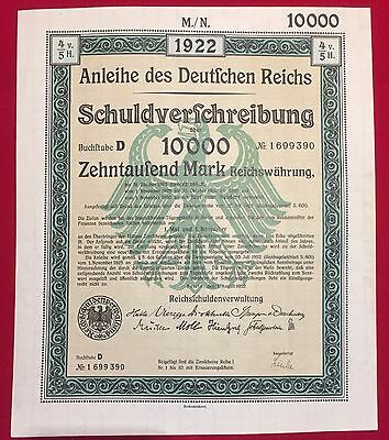 1922 German 10,000 marks bond certificate w/coupons