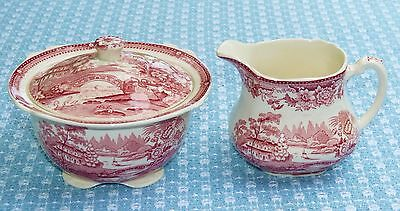 Vtg TONQUIN SUGAR BOWL & CREAMERl SET Clarice Cliff PINK Transferware !! MINT !!