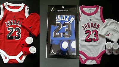 Nike Air Jordan Baby Boy Girl Cotton Clothes Bodysuit Romper Beanie Booties New