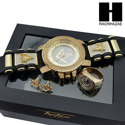 Men Iced Out Freemason Masonic Black Bullet Watch & Earring & Ring Gift Set S002