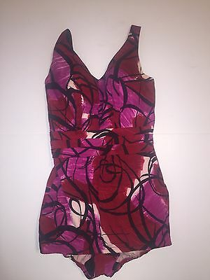 Vintage 60s Rose Marie Reid Bathing Suit Sz S Pink Red Abstract