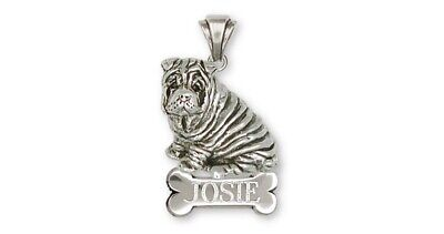 Shar Pei Personalized Pendant Jewelry Sterling Silver Handmade Dog Personalized