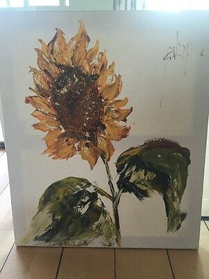 Sunflower Oil Painting On Canvas By French Artist Jean-Philippe Ghiglione