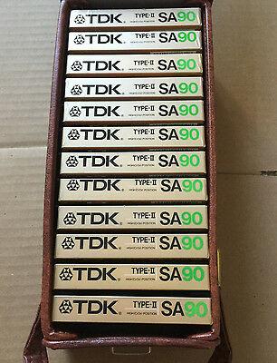 Set of 12 New Sealed TDK SA 90 Cassette Tape Assembled in USA with Carry Case