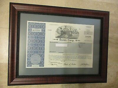 Enron Corp Stock Certificate Framed -- 100 Shares dated April 1, 2002