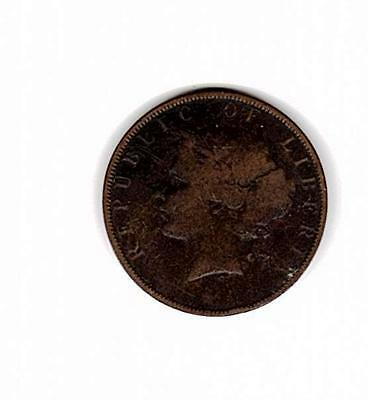 1896 Republic of Liberia Two Cents Coin