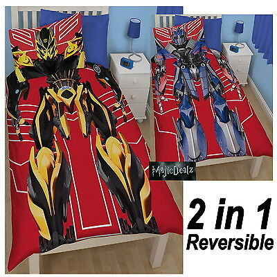 Transformers Robots Single Polycotton Duvet Cover Set Bedding Official 2 In 1