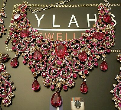 Indian fashion jewellery - PINK + Gold Bridal necklace set BOLLYWOOD