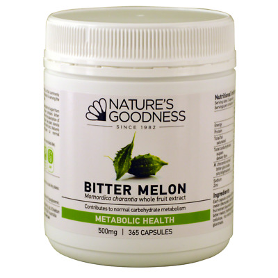 NEW Nature's Goodness Bitter Melon 500mg 365 Caps - maintain healthy blood sugar