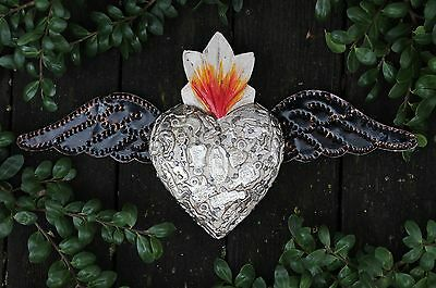 White Wood Heart Tin Wings Silver Milagros Folk Art Michoacán Mexico Love Token!