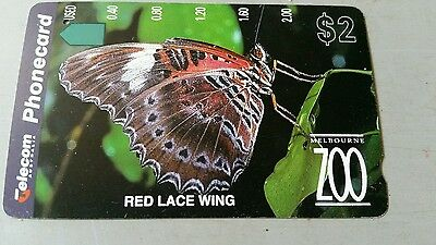$2 x1hole phonecard Red Lacewing Butterfly prefix 718