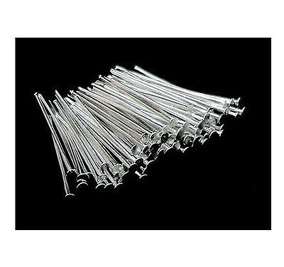 500Pcs 40mm Silver Plated Head Pins Jewellery Bead Findings Connector