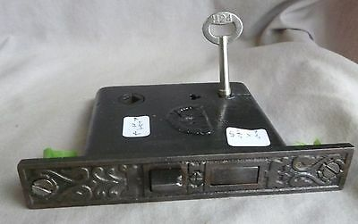 "Mortise lock/latch Eastlake 5 9/16""w  cast CAST IRON FACE W/KEY"