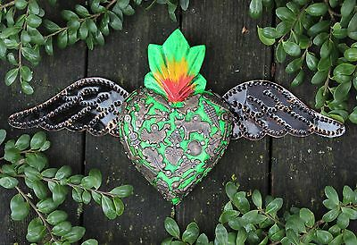 Bright Green Wood Heart Tin Wings Milagros Folk Art Michoacán Mexico Love Token