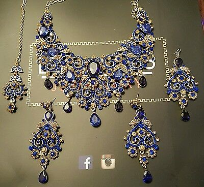 Indian fashion jewellery - BLUE + Gold Bridal necklace set BOLLYWOOD