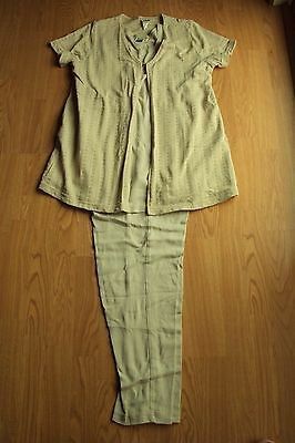 Womens Take Nine Maternity 3 Pc Beige Outfit Shirt Pants Jacket Size Medium