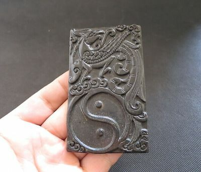 Old Chinese natural jade hand-carved phoenix Ink stone M851