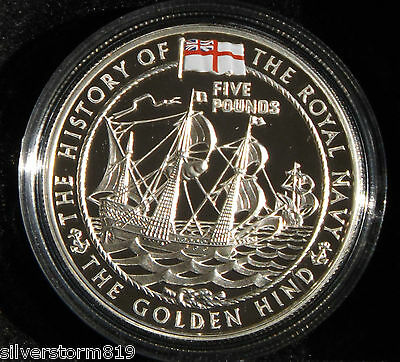 GUERNSEY  2003 Golden Hind Royal Navy Five Pounds Silver Proof Crown Coin