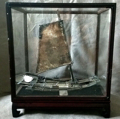 Antique Japanese Chinese Sterling Silver Ship Boat Bamboo Raft Sail DISPLAY CASE