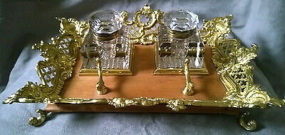 Vintage Faceted Glass Double Inkwell Brass Wood Tray