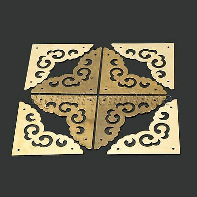 Retro Chinese Style Hardware Corners for Cabinet Furniture Pure Brass 4 Pcs/Set
