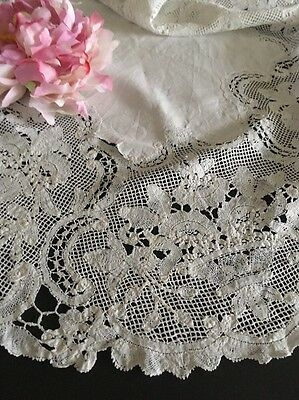 Antique Linen & Tape Lace Doily Or Topper