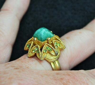 Vintage Peking art glass & rhinestone dome ring adjustable faux turquoise 1950s