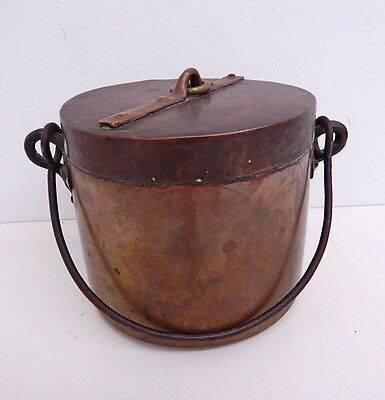 Antique Hammered Copper Pot Forged Iron Handle Soldered Dovetail Joint with Top