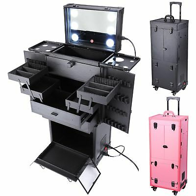Cosmetic Makeup Show Artist Barber Travel Rolling Case Light Trolley Black/Pink