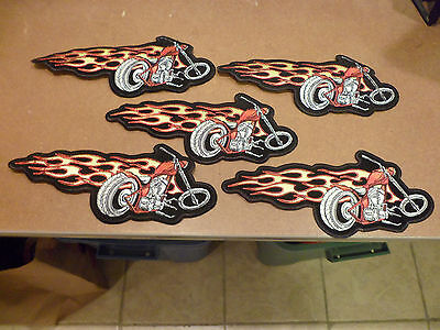"5 ""Large"" BIKE AND FLAME Motorcycle Patches!! (4 x 10 inches)"