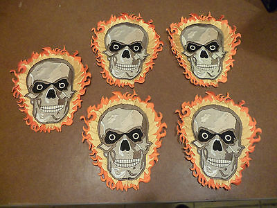 "5 ""FLAMING SKULL"" Patches!! (5 x 6 inches)"