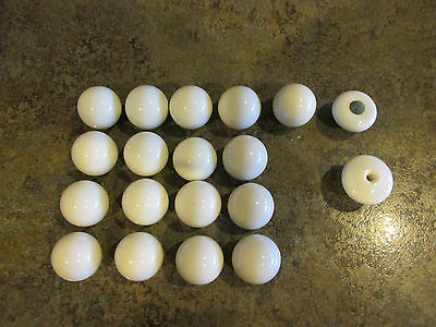 VINTAGE WHITE Porcelain Ceramic Cabinet Door Knobs Drawer Pulls w Brass Bases