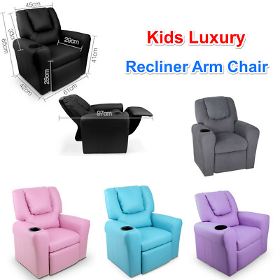 Kids Recliner Chair Children Sofa Lounge Padded PU Leather Arm Chairs