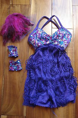Girl Dance Cosume  Small Child  Purple Flapper Costume, Clip, Armbands Dress Up