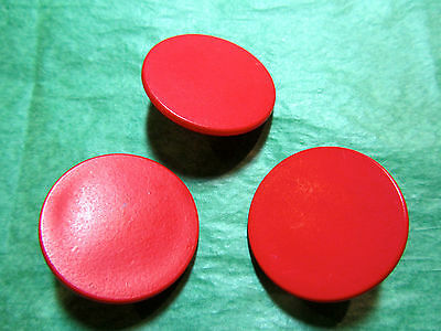 """(3) 1&1/16"""" RED PLASTIC SHANK BUTTONS - VINTAGE Lot#N46"""