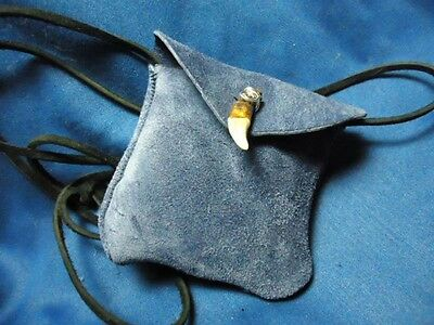 Ojibwa Chippewa Blue Suede Genuine Wolf Tooth Silver Plate Wrap Medicine Bag