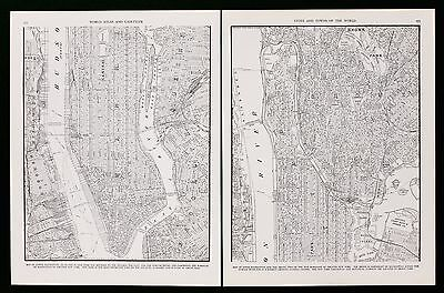 1939 New York City Bronx Map 2 Sheets Hudson East River Collier's Original