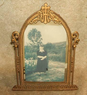Early 1900's Ornate Christian Brass Picture Frame
