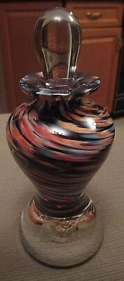 """Art Glass Signed """"thorn Glass Studios"""" Perfume Bottle With Stopper  Canada"""