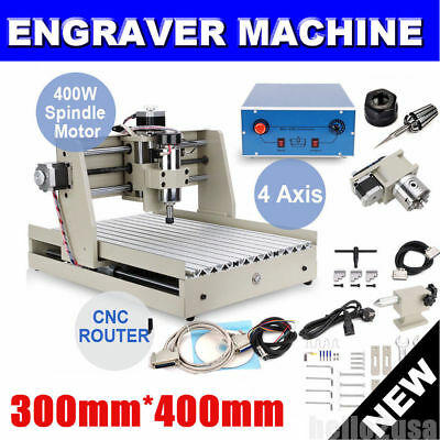 3040  4Axis 400W Cnc Router Engraver Engraving Machine Carving 3D Cutter+Mach3
