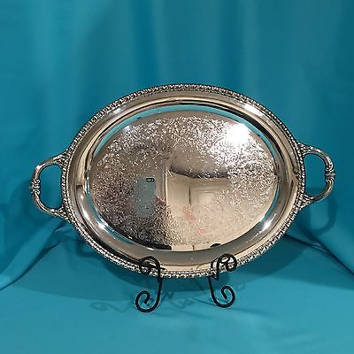 Vintage Rogers & Bro 1780 Silverplate Oval Serving Tray, Platter With Handles