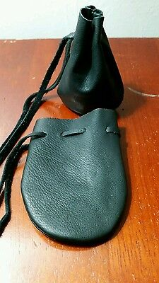 small leather dice coin bag pouch medieval renaissance black drawstring