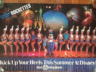 """EASTERN AIRLINES ORIGINAL POSTER """"Disney World, Rockettes, Mickey Mouse"""" 1985"""