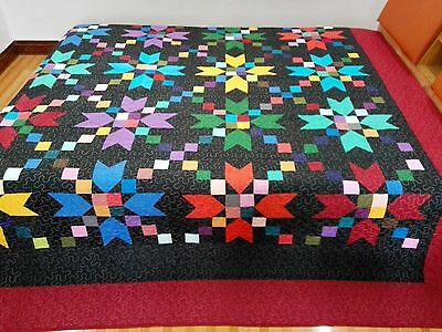 King size  machine pieced and quilted quilt #62K