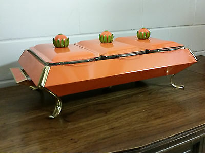 Triple SERVER TRAY Anchor Hocking Fire King Chafing Dish Buffet Server CASSEROLE