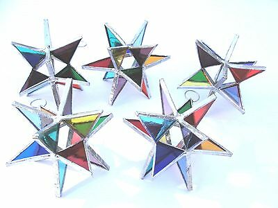 5 Stained Glass Moravian Style 3 Dimensional MULTI COLOR   Handmade!  Gorgeous!!
